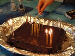 Chocolate brownie birthday cake